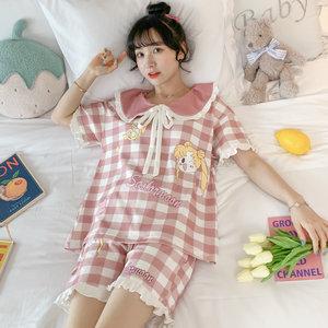 夏季纯棉短袖可爱学生日系宽松睡衣