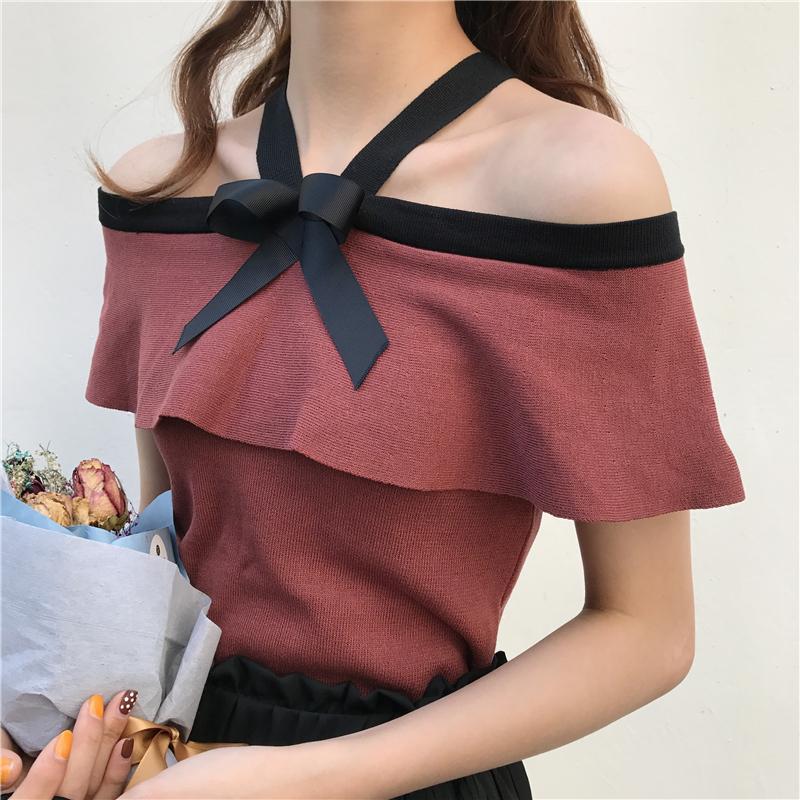 撲啦啦韓風Chic露肩一字領掛脖荷葉邊針織衫甜美蝴蝶結修身上衣女