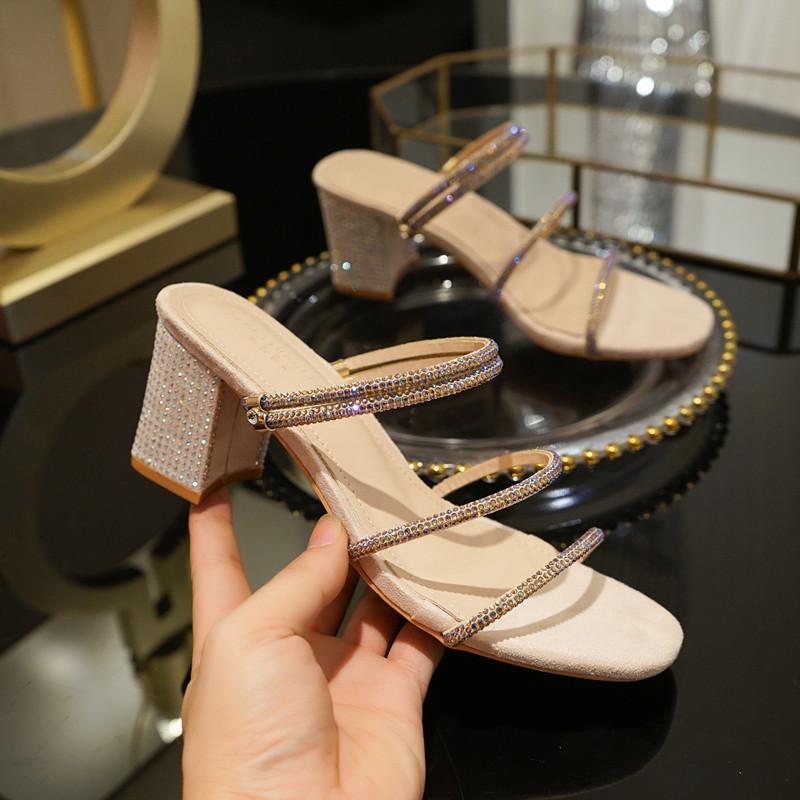 2020夏季新款水钻凉鞋中跟粗跟一字带两穿拖鞋仙女高跟鞋罗马女鞋