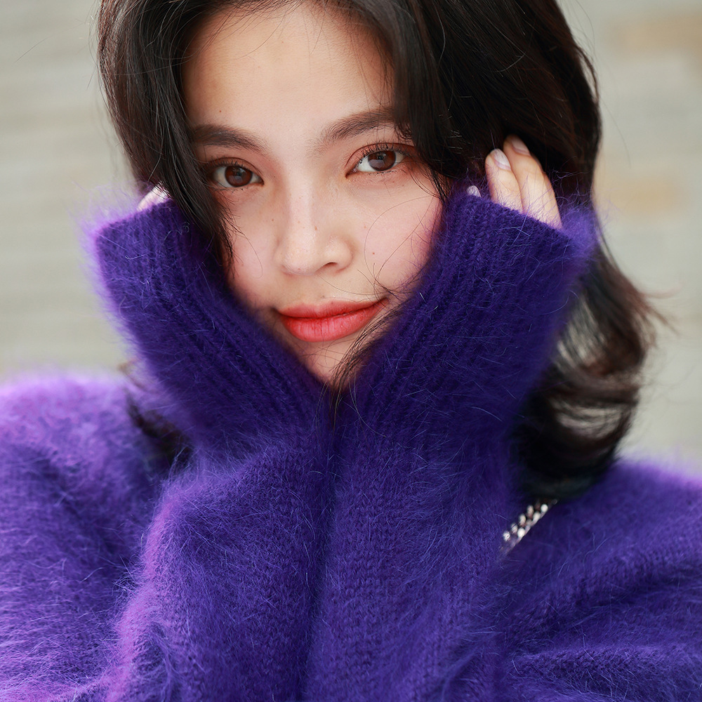 Autumn and winter 2020 new womens imitation mink sweater round neck Pullover long sleeve loose temperament purple lazy sweater