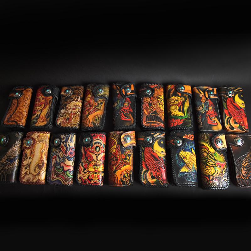 赛上热销头层牛皮手工皮雕男士钱包雕刻植鞣钱夹财布手包优质皮具