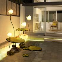 新中式落地灯创意仿古典荷花落地台灯茶室酒店客厅温馨个姓装饰灯