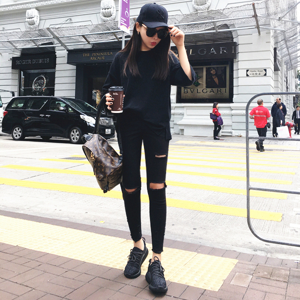В Гонконге новой личности асимметричной ноги скретч отверстия в узкие тонкие черные джинсы брюки с связанные ноги карандаш штаны