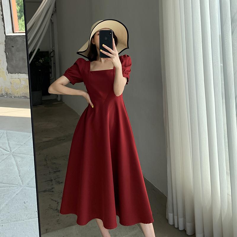 FT GUOGE红色连衣裙女2021夏季新款方领法式复古气质泡泡袖订婚裙