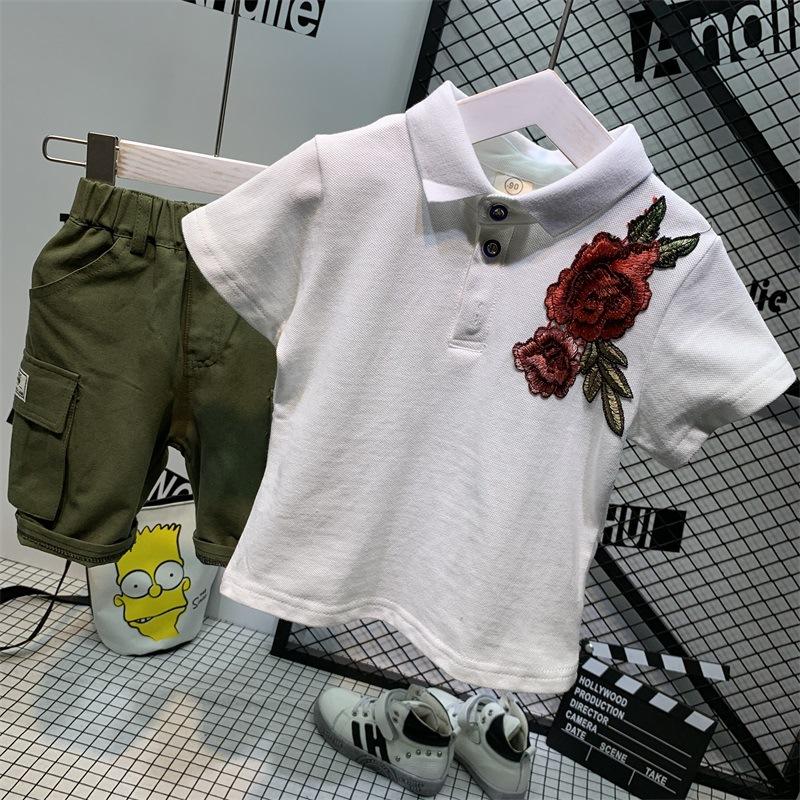 2020夏儿童翻领POLO衫玫瑰花宽松百搭短袖搭配棉薄款工装短裤套装