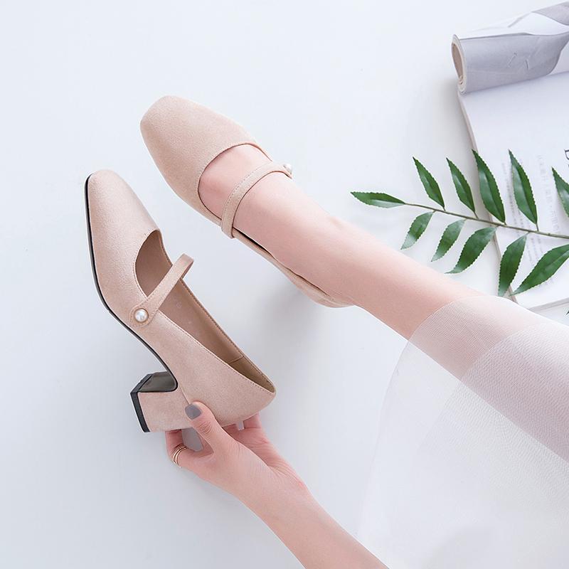 春秋中跟单鞋女韩版方头粗跟高跟一字扣学生百搭仙女复古玛丽珍鞋