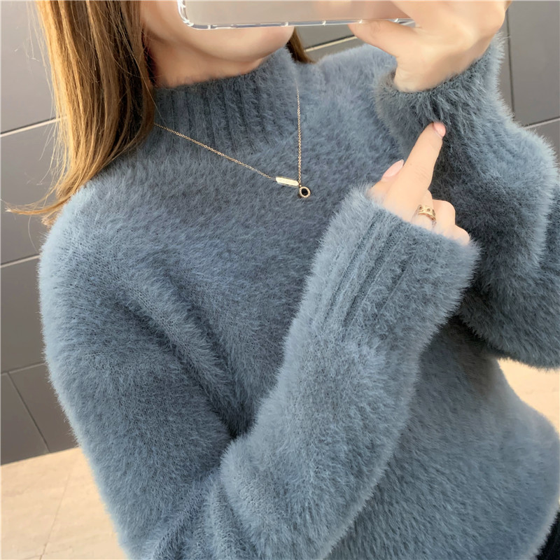 Mink sweater womens short Pullover base coat new Korean loose half high neck sweater in autumn and winter 2019