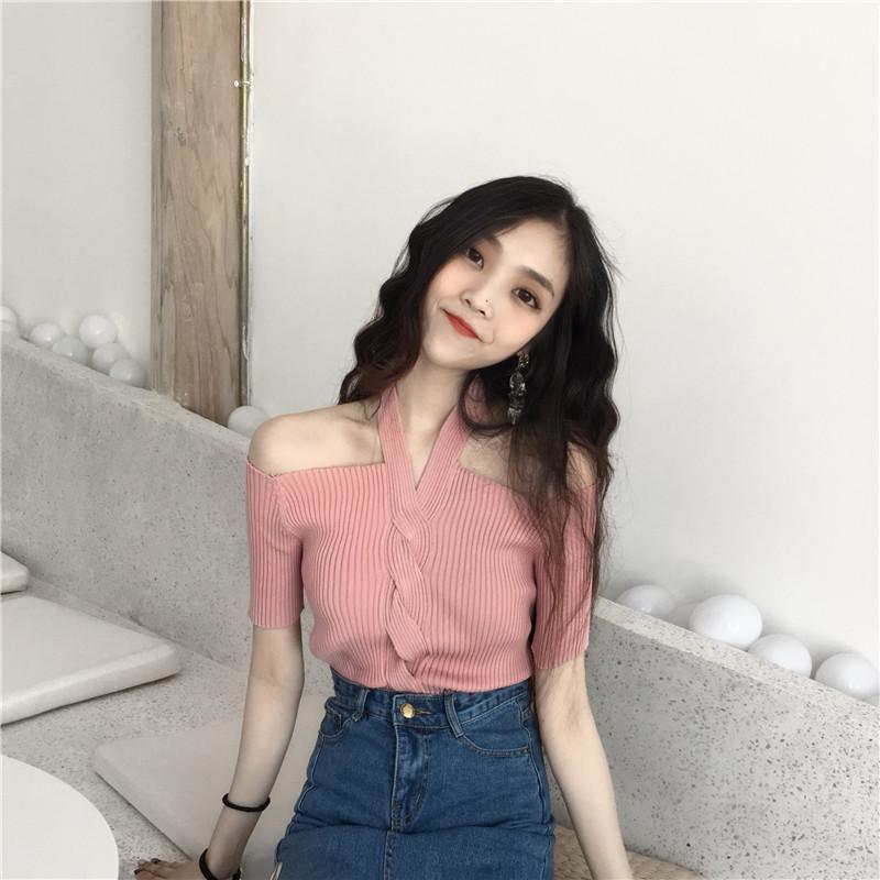 夏季复古韩国chic温柔淑女风漏肩一字领修身气质挂脖短袖针织上衣