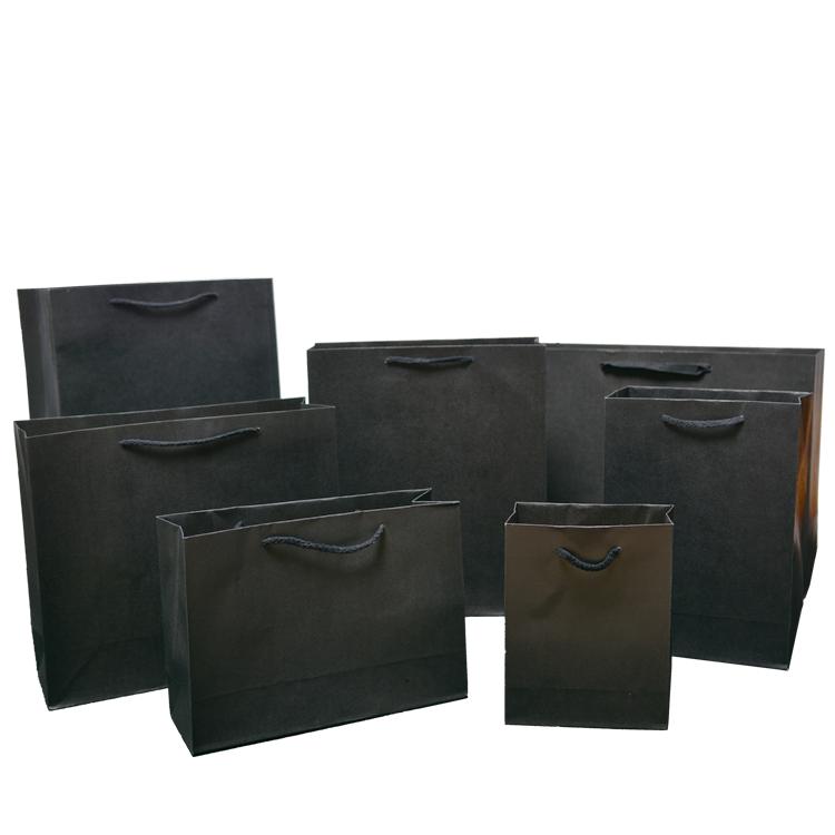 服装购物袋纯黑色牛皮纸袋环保手提袋礼品袋衣服袋男女装袋子现货
