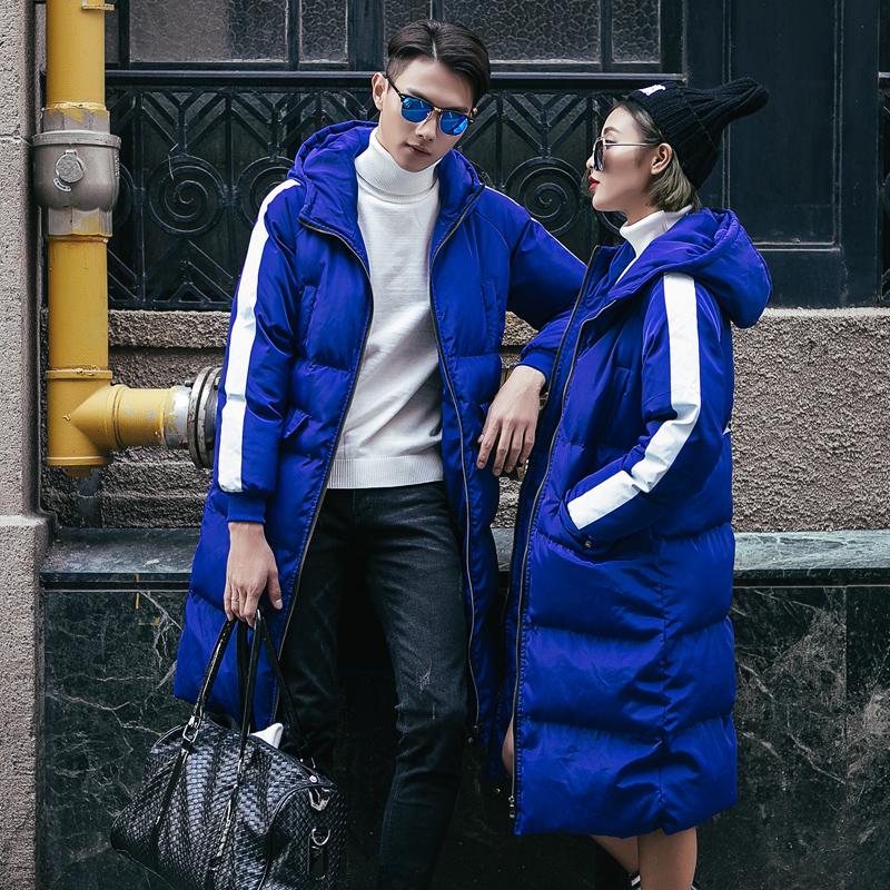 冬装新款棉衣男韩版修身qlz情侣装男女连帽中长款加厚棉服棉袄子图片