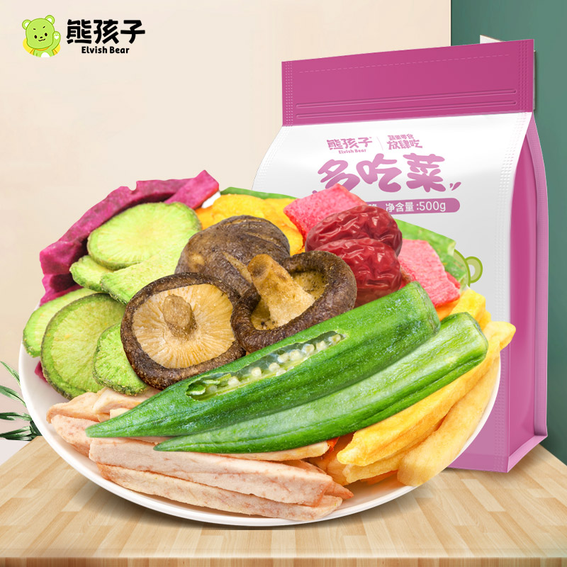 Bear baby fruit and vegetable crispy 500g dehydrated vegetable mixed fruit instant bag childrens snack