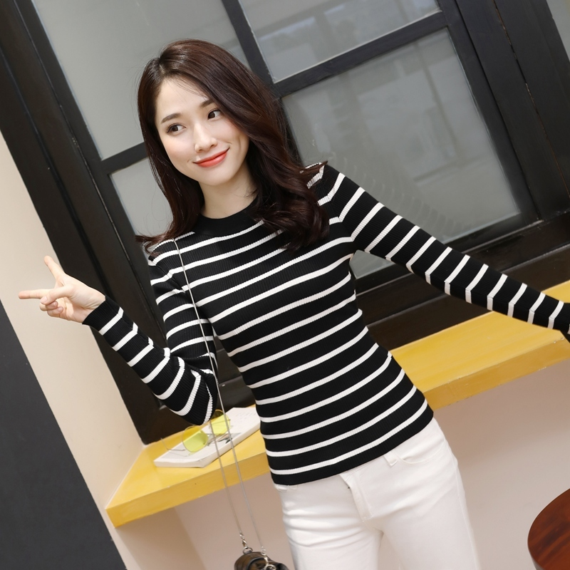 Autumn black and white striped sweater female Pullover student long sleeve tight knit short slim half high collar top