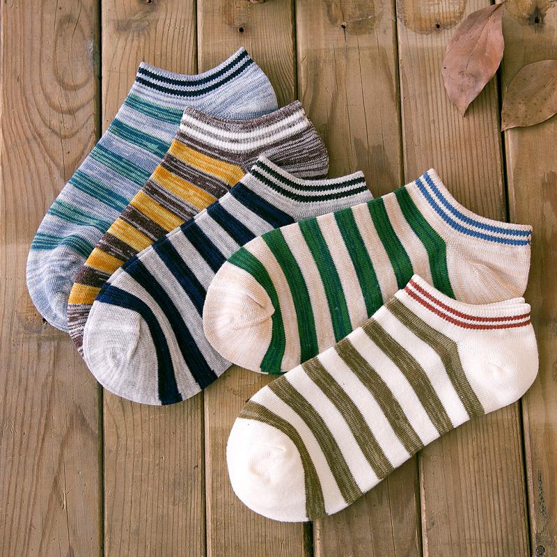 袜子男条纹休闲文艺袜四季薄款棉袜低帮浅口短袜吸汗透气船袜袜男