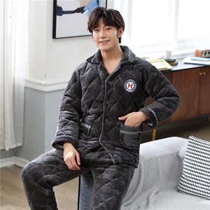 艾尚 實拍2018三層加厚加絨法蘭絨夾棉襖套裝冬季保暖家居服