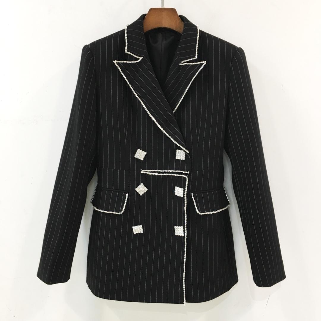 Welfare Chao show temperament heavy industry drill Chain Black Stripe slim casual suit coat