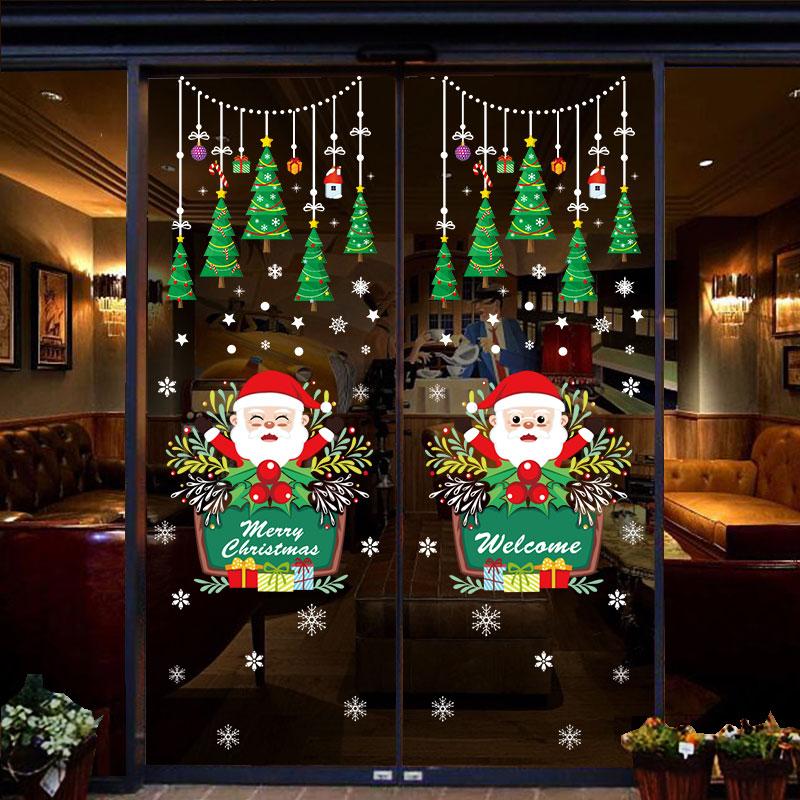 圣诞节装饰品玻璃贴纸元旦场景布置窗贴店铺橱窗圣诞树老人门贴画