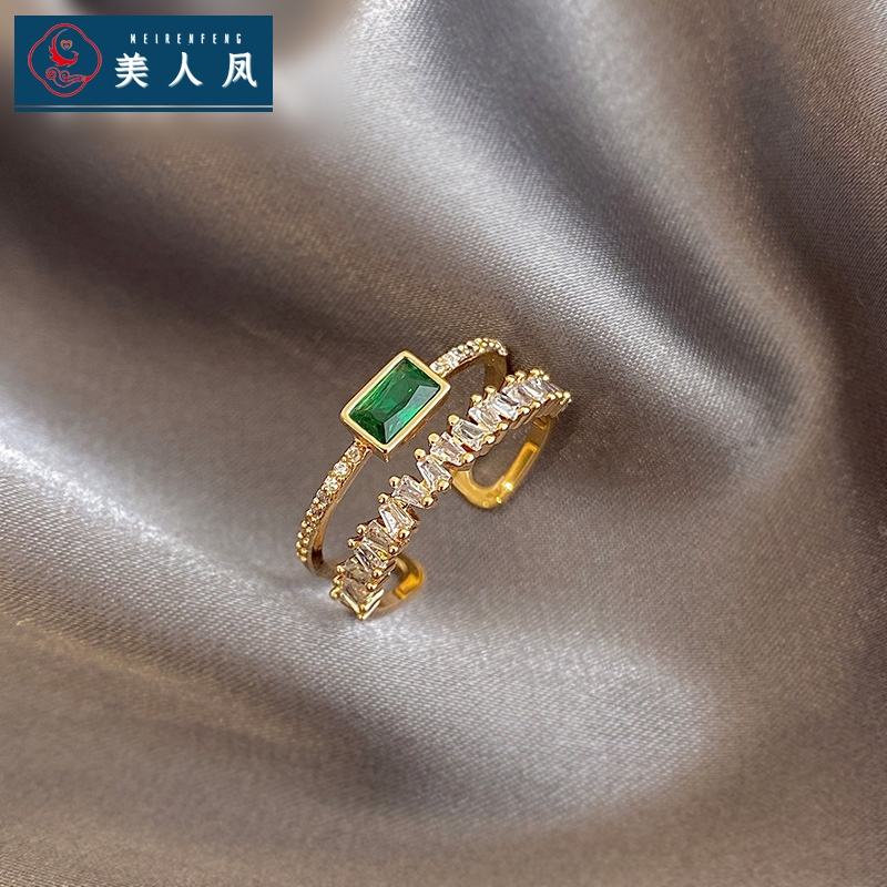 Green zircon double ring feminine fashion open ring personalized net red ins fashion ring
