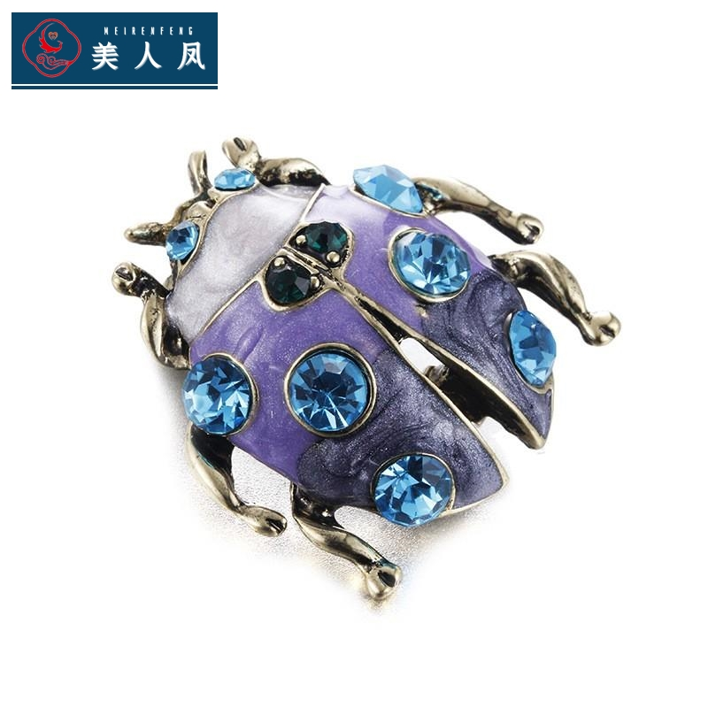 Alloy colorful ladybird personalized brooch brooch pin insect lifelike three dimensional cute small animal water drill B