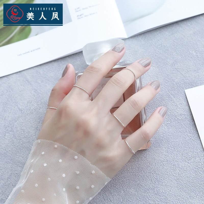 S925 pure silver plain ring joint ring female fashion personality superfine tail ring extremely simple small ring index finger cool wind