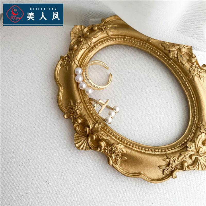 欧美气质个性设计法式网红复古双层珍珠开口镶钻戒指高级指环女