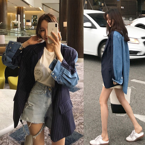 Design sense niche x2 jeans Blazer for womens 2021 spring new mid long Korean casual stripe suit