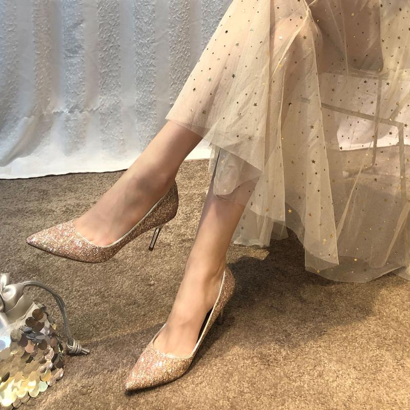 五折促销女2019新款尖头成年礼法式高跟鞋
