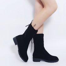 35-43特大码女鞋41加大号短靴女42粗跟马丁靴弹力中筒靴系带女靴