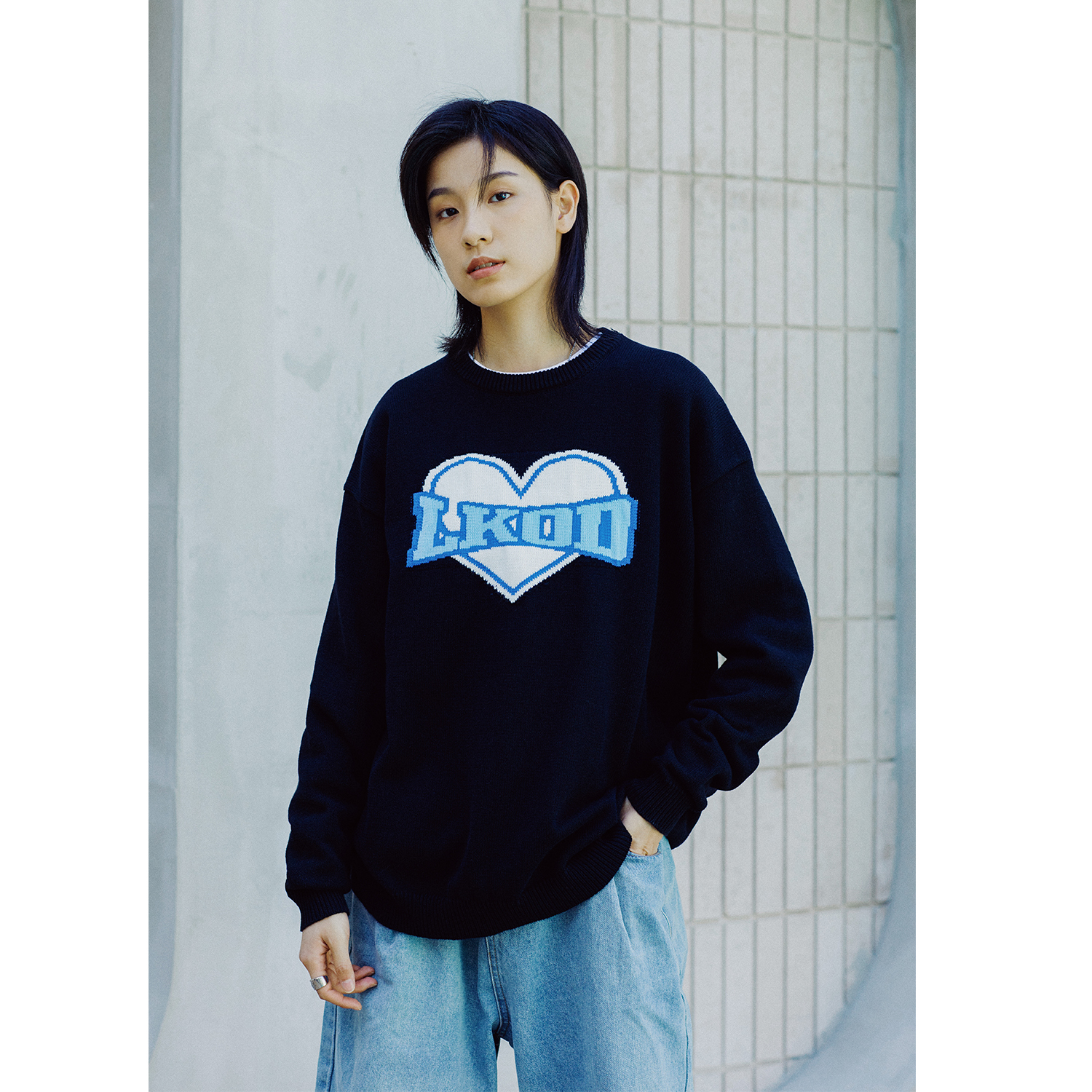 LKSTORE LKOD Autumn/Winter Love Letters Pure Cotton Round Neck Casual Street Sweater Men and Women Same Style Knitwear