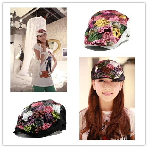 Yuying duck tongue hat spring summer autumn winter color Sequin lady Beret Korean diamond seven color duck tongue hat fashion hat