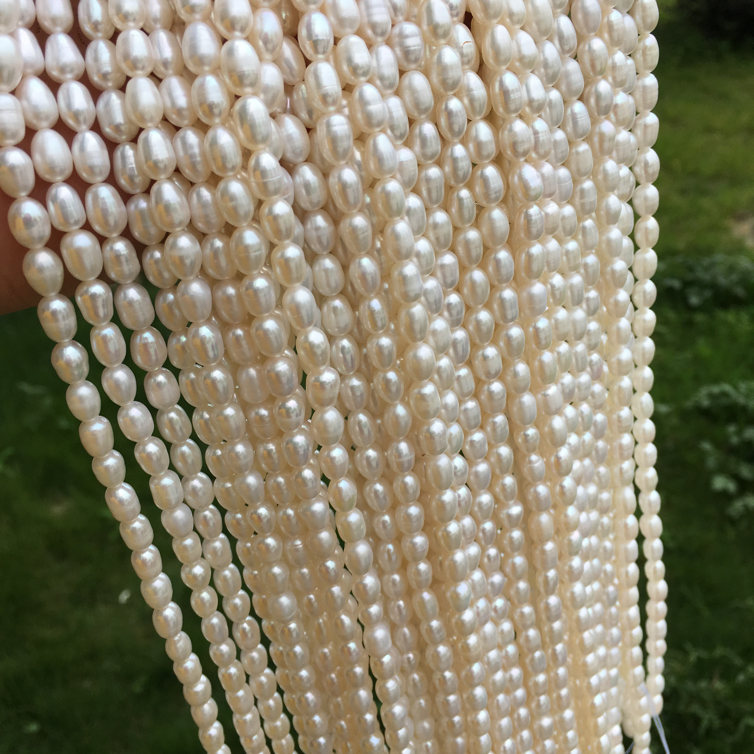 Simple pearl necklace 5.5mm meter Pearl White semi-finished handicraft jewelry DIY