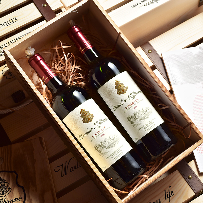 Chateau deffeigh France original bottle original imported Bordeaux AOC red wine 2 gift boxes Knight dry red wine