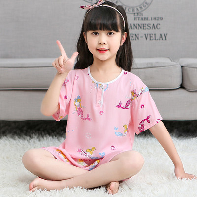 Summer children's pajamas cotton silk home service boys and girls clothing summer baby thin boy suit cotton silk short sleeves