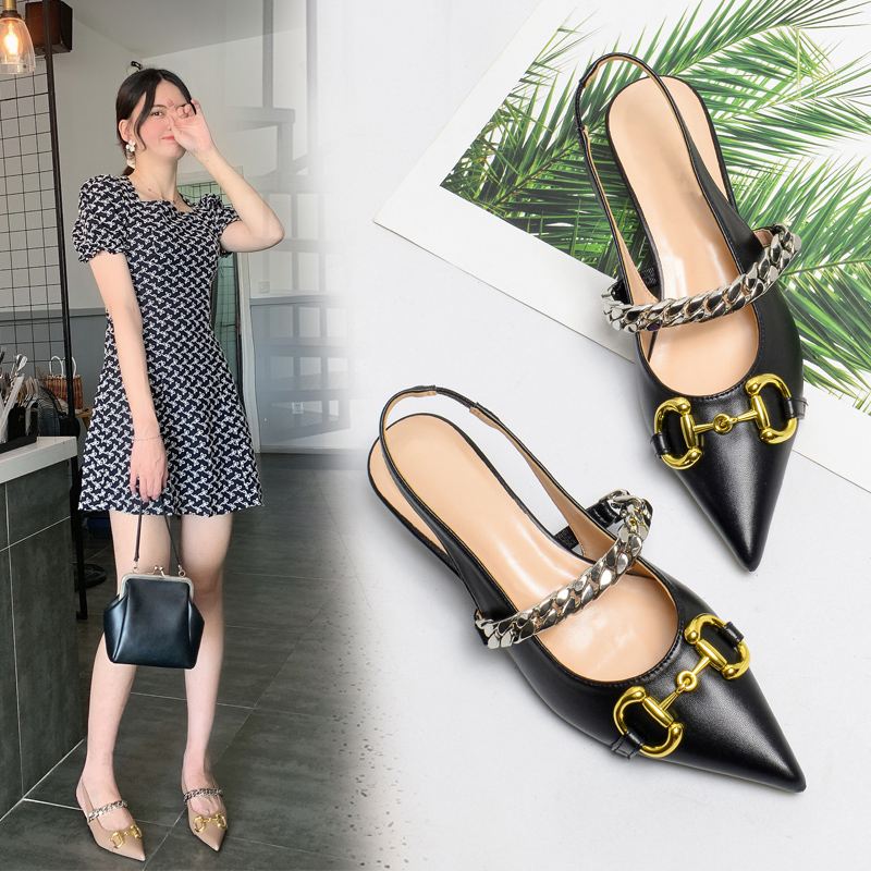 Baotou sandals womens thick heel new pointed high heels in summer 2020