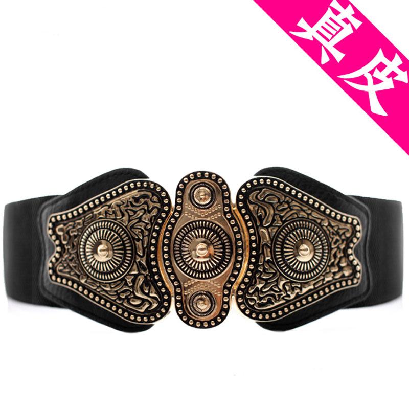Retro national dress decoration wide belt womens black elastic leather waist elastic versatile belt