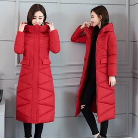 棉衣女中长款过膝棉服修身显瘦新款连帽韩版棉袄学生外套大码冬装