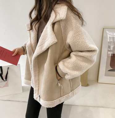 Winter 2019 new chic loose fur one piece suede coat womens short lambswood locomotive jacket