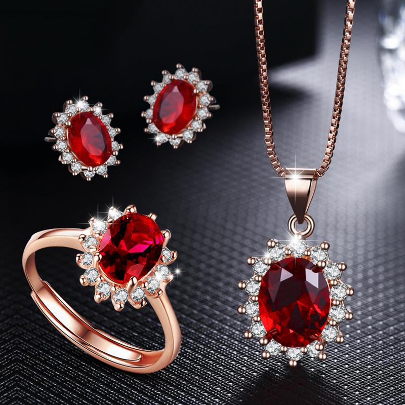 925 Sterling Silver Ruby Princess Earrings female Japanese Korean temperament rose gold earrings personalized Diamond Earrings Fashion Gift