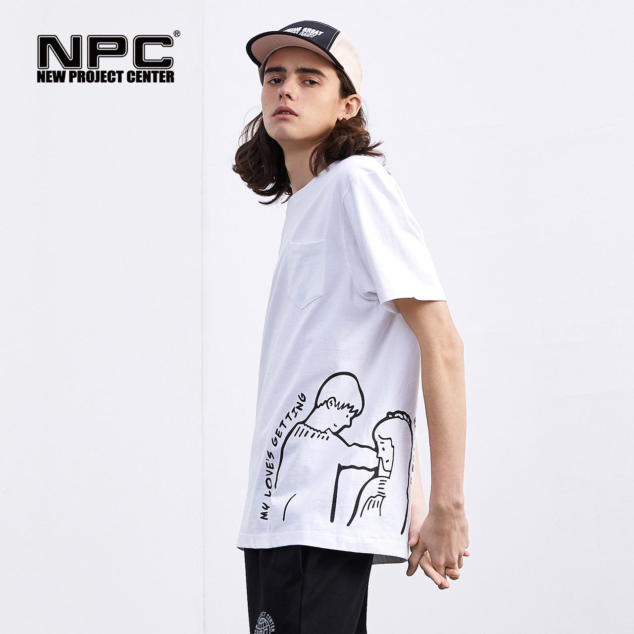 NPC潮牌短袖T恤男个性情侣创意印花半袖宽松纯棉潮流T恤夏装2019