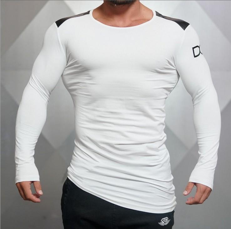 Мышцы братья 2016 новый фитнес t длинный рукав спортивная(ый) футболку осень/зима Мужские рубашки в конце весны Фитнес Одежда