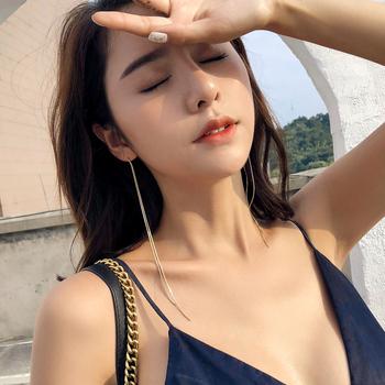 超长流苏耳环女网红个性百搭潮人韩国气质长款耳坠纯银耳线耳链