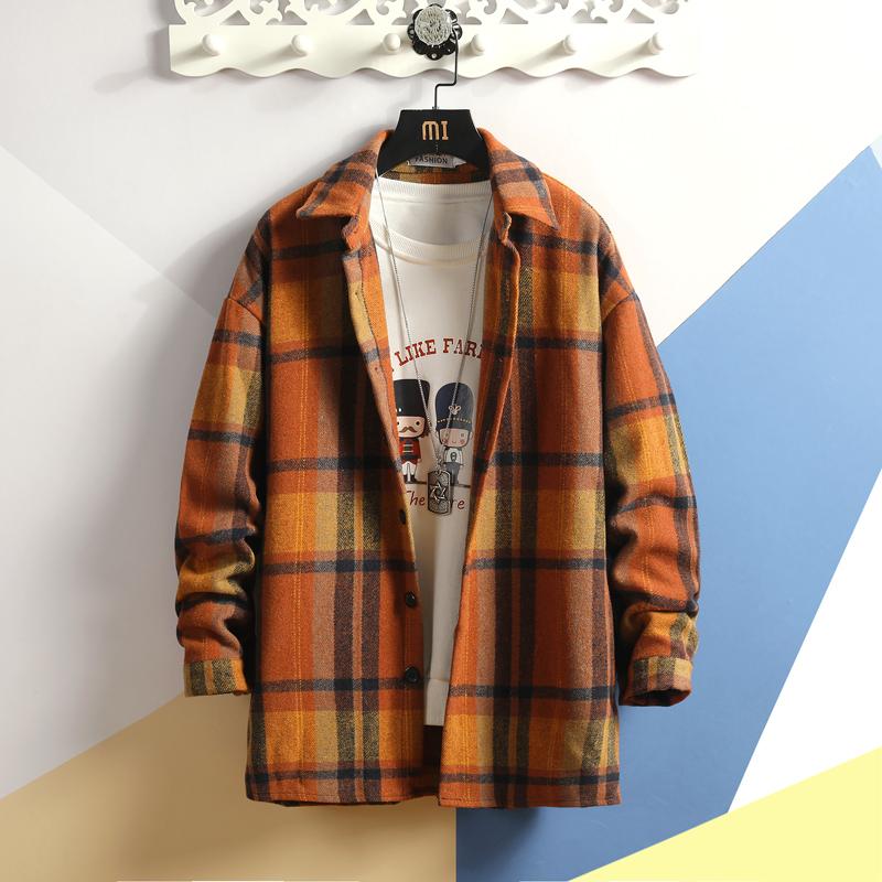 19秋冬新款日系大码呢料格子衬衫长袖外套 A038-CS107-P60