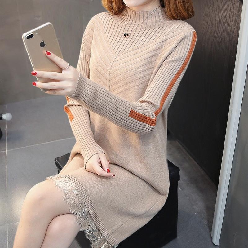 的尚打底衫针织毛衣裙中长款假两件毛衣女大码显瘦秋冬蕾丝连衣裙