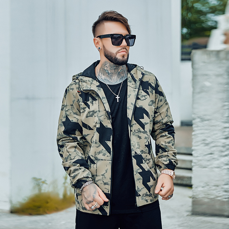 Chaopang oversized mens camouflage jacket Hooded Coat fat autumn new military fashion top