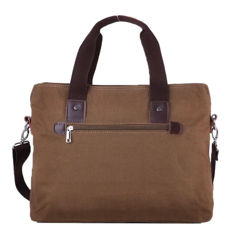 男士手提包横款商务电脑包单肩斜挎包休闲男包复古帆布包公文包男