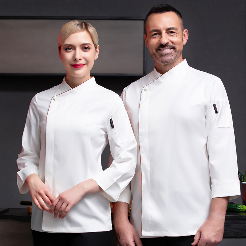 Canteen chefs clothes long sleeve Restaurant restaurant kitchen workers clothes Bakers uniform Bakers autumn and winter cake clothes framed