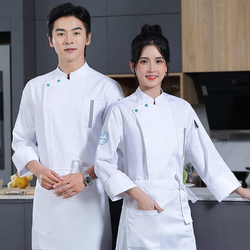 Chefs long sleeved Korean sushi pastry chefs work clothes Bakers uniform cake suit baristas autumn and winter clothes