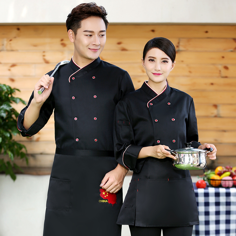 Japanese sushi restaurant work clothes autumn and winter clothes cook clothes canteen western restaurant kitchen clothes long sleeve dining uniform men