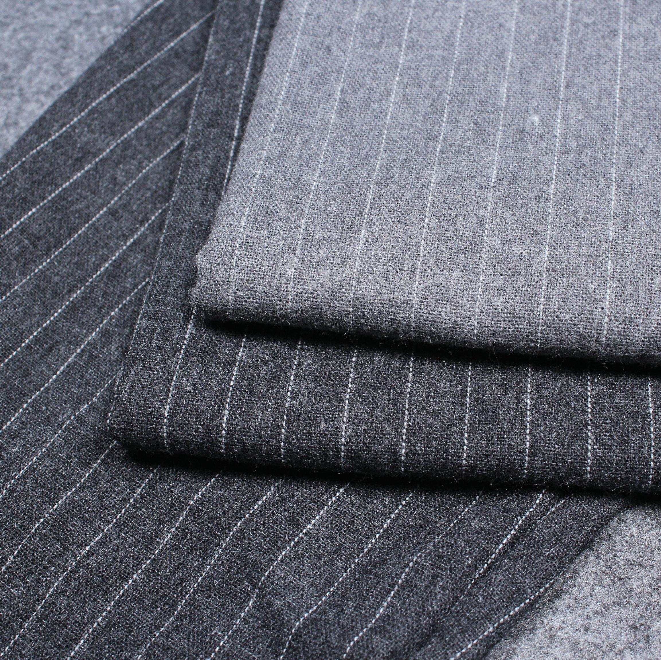 文艺绅士条纹 优质磨毛 纯棉法兰绒布料 春秋衬衫全棉面料