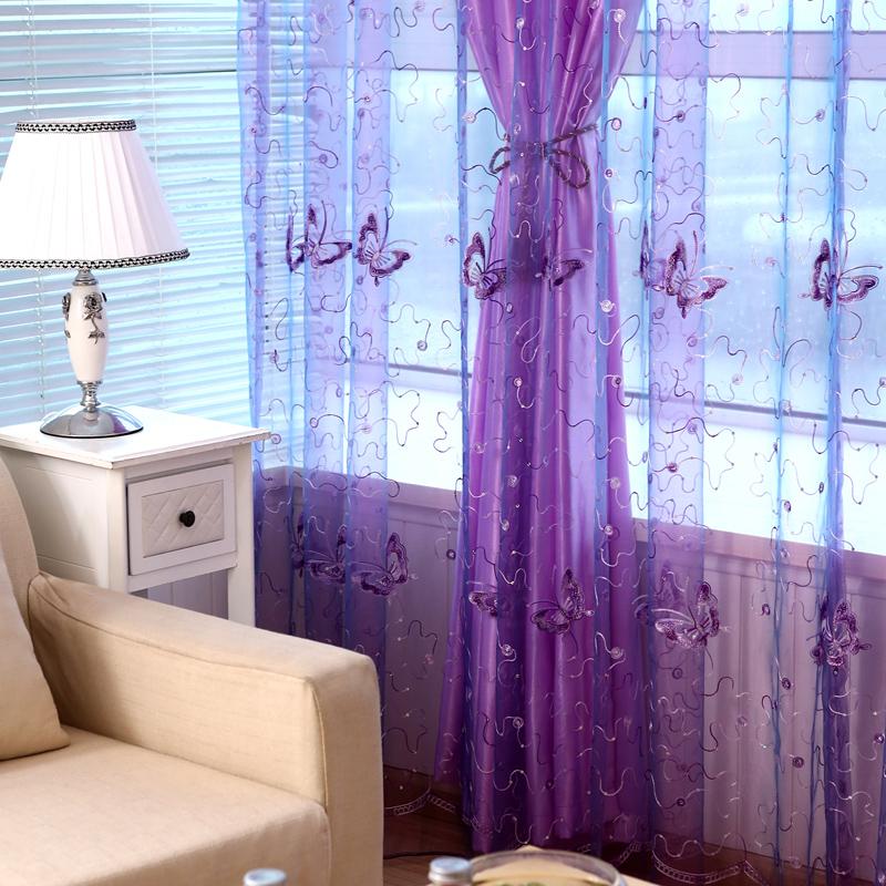 韓式田園紫色蝴蝶陽臺隔斷窗紗美容院窗帘繡花半遮光成品特價清倉