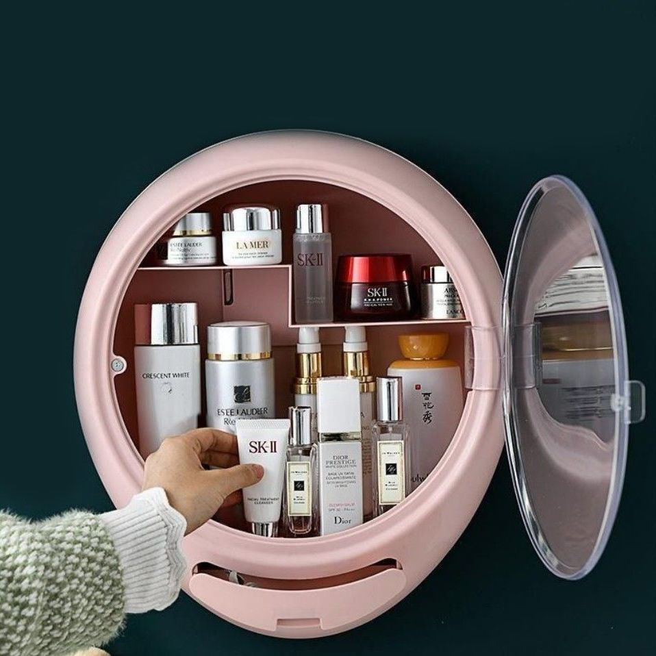 万达壁挂式防尘化妆品收纳盒免打孔家用大容量卫生间浴室置物架